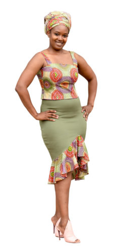 ASH-7 - Body Con Two piece - Scuba Skirt with African Print details. Skirt R450 Fitted Bodice R400